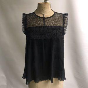 Zara, Black Lace Flowy Top, XS